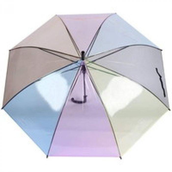 [ベィジャン] 傘 透明長傘 8本骨 耐風撥水 虹柄 ビニール傘 ジャンプ傘 携帯便利 アウトドア用 男女兼用