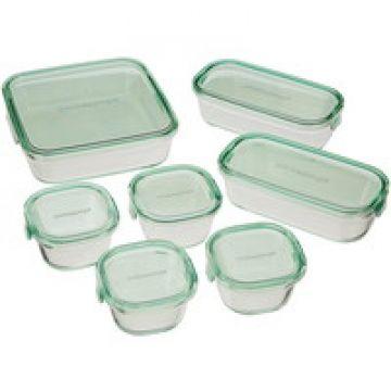 aaaa日常使いからパーティーまでどんな料理にも合う保存容器 iwaki(イワキ) 耐熱ガラス 保存容器 グリーン 7個セット パック&レンジ