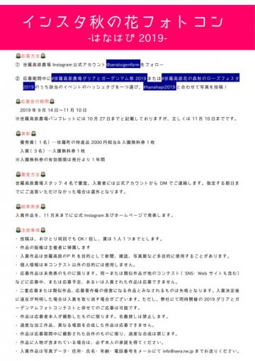 aaaa「インスタフォトコン-はなはぴ2019-」Instagram秋の花フォトコン