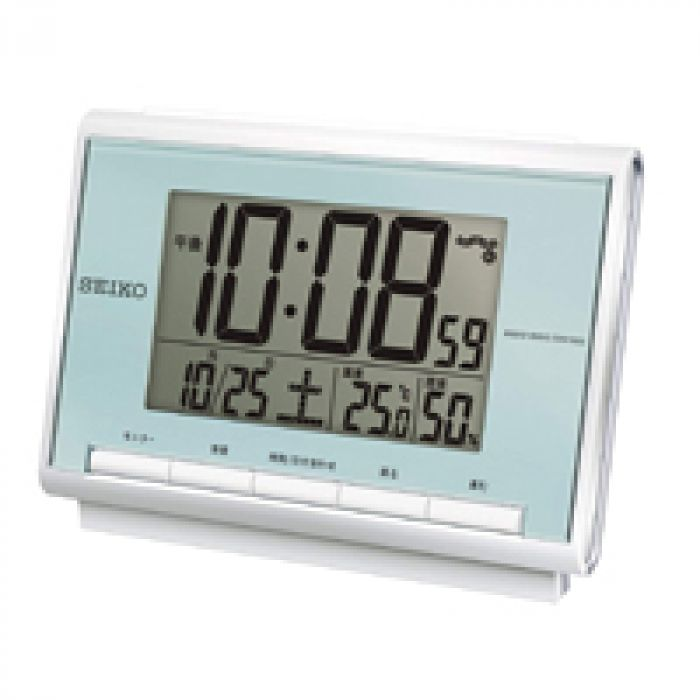 前面ボタンで操作が簡単 セイコー クロック 目覚まし時計 電波 デジタル カレンダー 温度 湿度 表示 薄青 パール