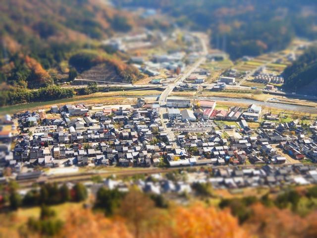 竹田の町並みを撮影。ただしミニチュアライズモードで。 けっこういい効果が出せました。