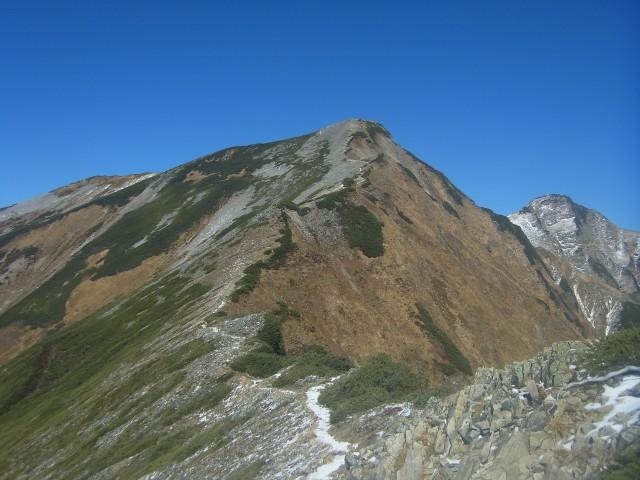鹿島槍ヶ岳、なかなかの山容。 登りがいがあります。