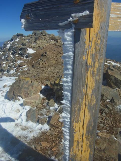 山頂に到着。 頂標には「エビのシッポ」がビッシリとついていました。 もうすぐ冬本番。 そうなると容易には登れません。