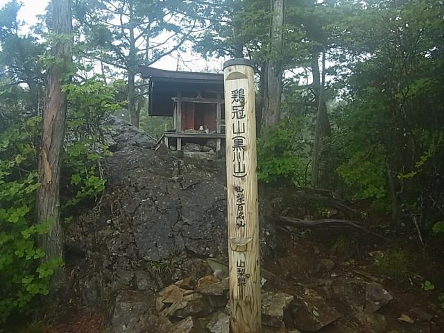 鶏冠山に到着。 雨も降ってきたので、ここで下山しました。