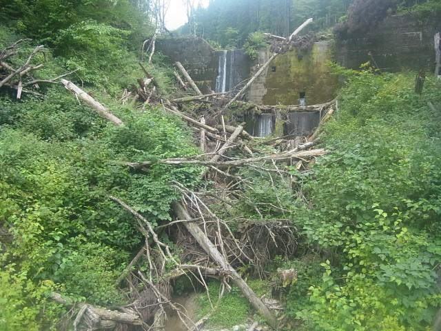 下山完了。 台風の影響でしょうか。 砂防ダムがすごい状態になっていました。