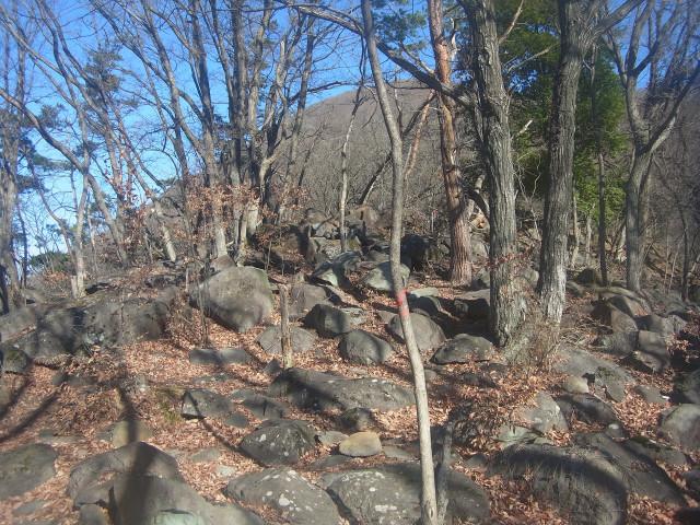 登っていくと、なんだか大小の岩がいっぱい積み重なった場所へ。