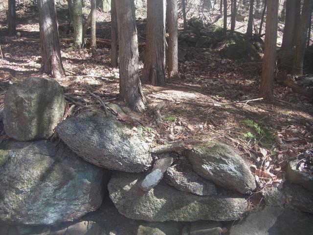 石垣が出てきました。 登山道の途中、いたるところに。 その昔、集落があったのでしょう。 人が住んでいた名残は、なんだか寂しいものです。