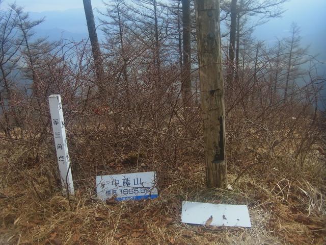 次々と小ピークを越えて行きます。 ここは中藤山。 中藤と書いて「なかっとう」と読みます。 山名は難読なものが多いのです。