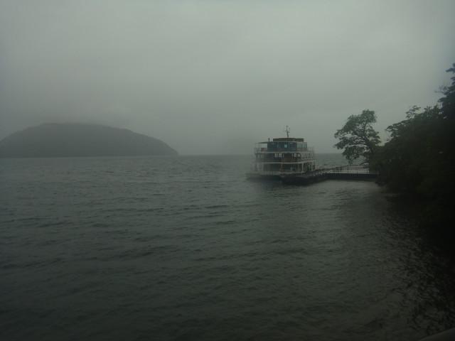 ゴール地点は十和田湖。 この時点で大雨になったので、いい写真が撮れなかった。